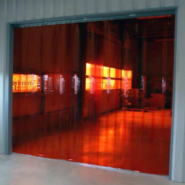 Strokengordijn Rood Transparant op mat